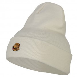 Golden Retriever Head Embroidered Long Knitted Beanie