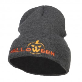 Halloween Pumpkin Face Embroidered Long Beanie