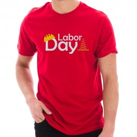 Labor Day Graphic Design unisex Ring Combed Cotton Short Sleeve Deluxe Jersey T-Shirt