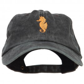 Seahorse Embroidered Washed Cotton Cap