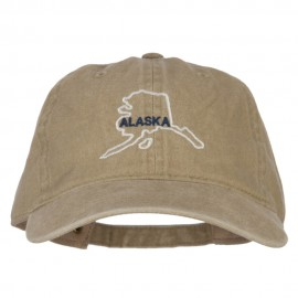 Alaska with Map Outline Embroidered Washed Cotton Cap - Khaki
