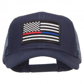 Thin Red Blue Line USA Flag Patched Mesh Cap