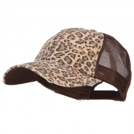 Low Profile Canvas Leopard Printed Mesh Cap - Brown