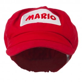 Youth Rectangle Mario and Luigi Embroidered Cotton Newsboy Cap - Red