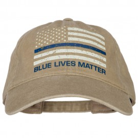 Lives Matter Blue Line Flag Heat Transfers Printed Washed Cotton Twill Cap
