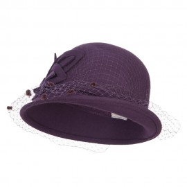 Leaf Flower Net Wool Cloche - Purple