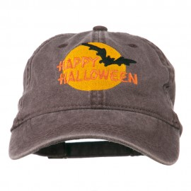 Happy Halloween Full Moon Embroidered Washed Dyed Cap - Brown