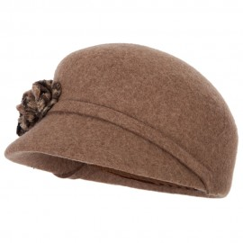 Women's Flower Detailed Band Accented Short Brim Newsboy Cap Style Hat