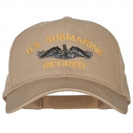 US Submarine Retired Logo Embroidered Solid Cotton Pro Style Cap