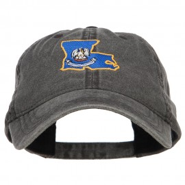 Louisiana State Flag Map Embroidered Washed Cap