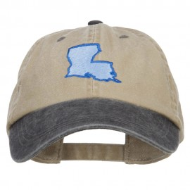Louisiana State Map Embroidered Two Tone Cap