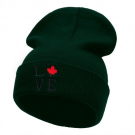 Canadian Love Embroidered 12 Inch Long Knitted Beanie
