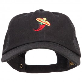 Chili with Sombrero Embroidered Unstructured Cap
