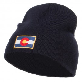 Colorado Flag Embroidered Short Beanie - Navy