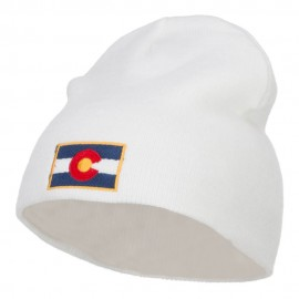 Colorado Flag Embroidered Short Beanie - White