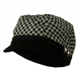 Libby Silver Button Cabbie Cap