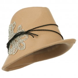 Ladies Wool Felt Stones Fedora