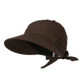Ladies Sun Wide Visor Hat - Brown