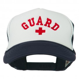 Life Guard Cross Embroidered Foam Mesh Back Cap - Navy White