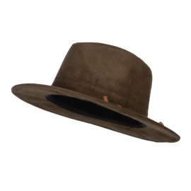 Women's Leatherette Tie Suede Panama Hat - Olive