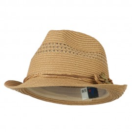 Ladies Toyo Braid Fedora Hat - Khaki