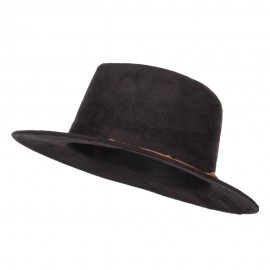 Women's Leatherette Tie Suede Panama Hat - Black