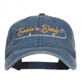 Santa's Sleigh Embroidered Washed Cap