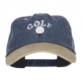 Golf Ball on Tee Embroidered Washed Cap - Navy Khaki