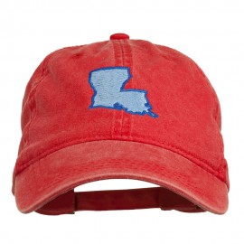 Louisiana State Map Embroidered Washed Cotton Cap - Red