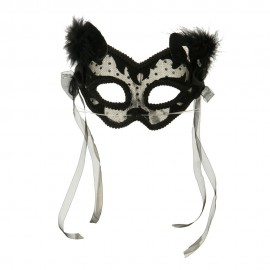 Lace and Velvet Cat Mask with Feathers and Bows - Black