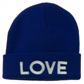 Love Embroidered Long Beanie