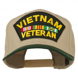 Vietnam Veteran Large Patch Cotton Twill Cap - Green Khaki