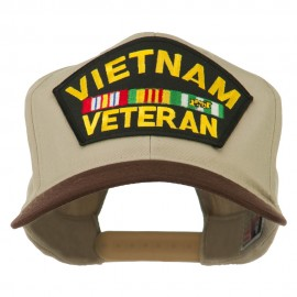 Vietnam Veteran Large Patch Cotton Twill Cap - Brown Khaki