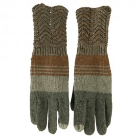 Women's Lace Knit Striped Texting Glove - Grey