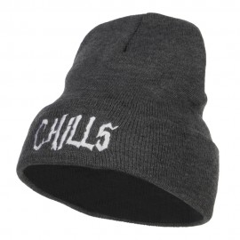 Chills Halloween Embroidered Long Beanie