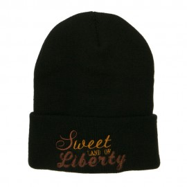 Sweet Land of Liberty Embroidered Long Beanie