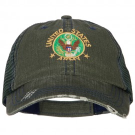 US Army Circle Symbol Embroidered Low Profile Cotton Mesh Cap