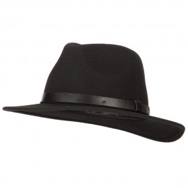 Women's Leather Band Trim Accented Large Brim Wool Fedora Hat