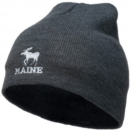 Maine State Moose Embroidered Short Beanie