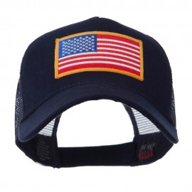 5 Panel Mesh American Flag Patch Cap - Navy