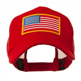 5 Panel Mesh American Flag Patch Cap - Red