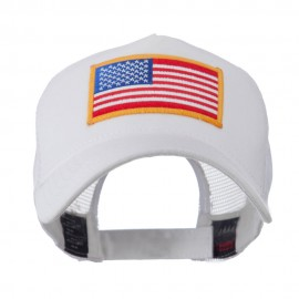 5 Panel Mesh American Flag Patch Cap - White