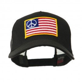 5 Panel Mesh American Flag Patch Cap - Peace