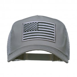 American Flag Patch 5 Panel Mesh Cap - Grey