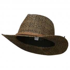 Men's Mix Braid Large Brim Fedora - Brown