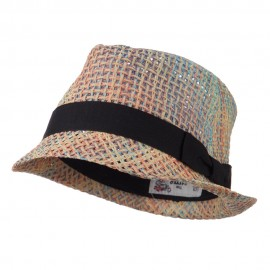 Multi Woven Straw Fedora with Band