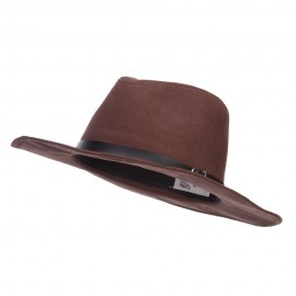 Suede Panama PU Buckle Band Hat
