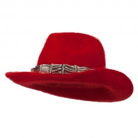 Metal Band Angora Cowboy Hat - Red
