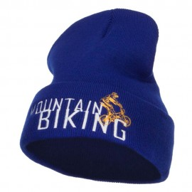 Mountain Biking Embroidered Long Beanie