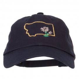 Montana Bitterroot with Map Embroidered Unstructured Washed Cap